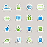 Paper Cut - Hotel icons. 16 hotel and travel icons set Royalty Free Stock Photo