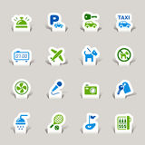 Paper Cut - Hotel icons. 16 hotel and travel icons set vector illustration