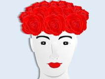 Paper cut human face with rose head vector illustration