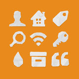 Paper Cut Icons for Web and Mobile Applications Set 1 Royalty Free Stock Image