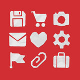 Paper Cut Icons for Web and Mobile Applications Set 2 Stock Photo