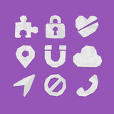 Paper Cut Icons for Web and Mobile Applications Set 3 Stock Images
