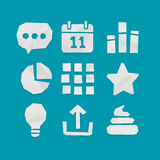 Paper Cut Icons for Web and Mobile Applications Set 4 Royalty Free Stock Photography