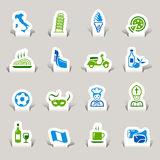 Paper Cut - Italian Icons. 16 italian culture icons set Stock Photography