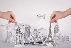 Paper cut (Japan,France,Italy,New York,India,egypt) Royalty Free Stock Images