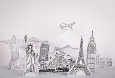 Paper cut l (Japan,France,Italy,New York,India,egypt). Paper cut of travel (Japan,France,Italy,New York,India,egypt Stock Photo