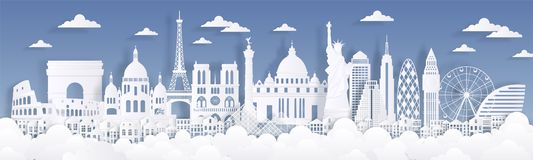 Paper cut landmarks. Travel the world background, skyline advertising card, Paris London Rome buildings silhouettes