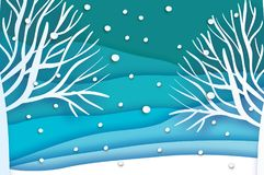Paper cut landscape and forest. Merry Christmas Greeting card. Origami snowy winter season. Happy New Year. Trunk. Paper Royalty Free Stock Images