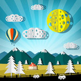 Paper Cut Landscape. Vector Nature Scene with Road, Cars, Hills and Hot Air Balloon Stock Image
