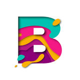 Paper cut letter B. Realistic 3D multi layers papercut isolated white background. Paper cut letter B. Realistic 3D multi layers papercut effect isolated on white royalty free illustration