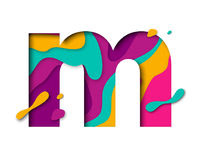 Paper cut letter M. Realistic 3D multi layers papercut isolated white background. Paper cut letter M. Realistic 3D multi layers papercut effect isolated on white Stock Photo