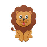 Paper cut of lion cartoon is cute design for illustration in the Stock Photos