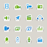 Paper Cut - Media Icons. 16 media and technology icons set stock illustration