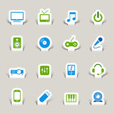 Paper Cut - Media Icons. 16 media and technology icons set Stock Images