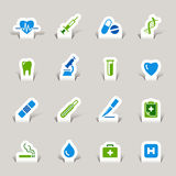 Paper Cut - Medical Icons. 16 medical and healthcare icons set vector illustration