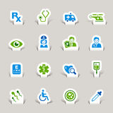 Paper Cut - Medical Icons. 16 medical and healthcare icons set stock illustration