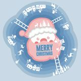 Paper cut merry Christmas and new year,Winter Santa Claus and Re stock illustration