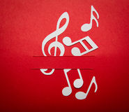 Paper cut of music note with copy space Stock Images