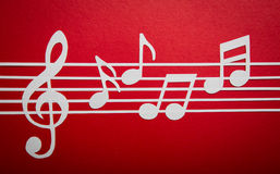 Paper cut of music note with copy space Royalty Free Stock Images