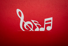 Paper cut of music note with copy space Stock Photos