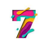 Paper cut number Seven 7 letter. Realistic 3D multi layers papercut effect Royalty Free Stock Photography