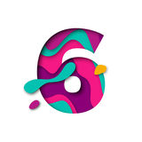 Paper cut number Six 6 letter. Realistic 3D multi layers papercut effect Stock Photo