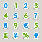 Paper Cut - Numbers. 16 numbers & currency icons set Royalty Free Stock Photos