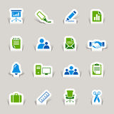 Paper Cut - Office and Business icons. 16 office and business icons set Royalty Free Stock Photos