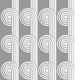 Paper cut out circles with continues stripes on gray Stock Images