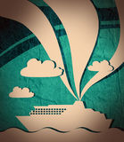 Paper cut out ferry boat grunge background. Image relative to sea travelling Stock Photos