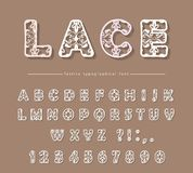 Paper cut out filigree decorative font. Laser cutting. Lacy ornate ABC letters and numbers. For wedding design. Vector. Illustration royalty free illustration