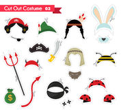 Paper cut out for kids with costume accessories . can be used as a props for a theamed party Royalty Free Stock Photo