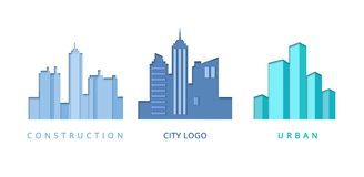 Paper Cut Out Logo Template Set with City Buildings. Origami Real Estate Symbols for Branding, Brochure, Identity. Vector illustration Royalty Free Stock Image