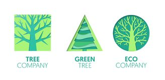 Paper Cut Out Logo Template Set with Green Trees. Origami Eco Company Symbols for Branding, Brochure, Identity. Vector illustration Stock Image