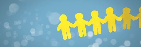 Paper cut out people holding hands together in line. Digital composite of Paper cut out people holding hands together in line Stock Photo