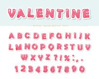 Paper cut out pink decorative font. Cartoon ABC letters and numbers. Perfect for Valentine s day cards, cute design for girls. Vector Royalty Free Stock Photo