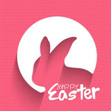 Paper cut out Rabbit for Easter celebration. Stock Photos