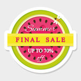 Paper cut out sticker final summer sale. Watermelon icon. Vector Stock Image
