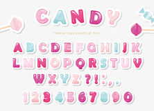 Paper cut out sweet font design. Candy ABC letters and numbers. Pastel pink and blue. Stock Image