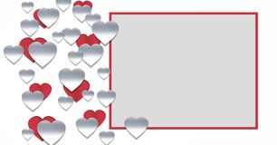 Paper cut out Valentines hearts with empty box. Digital composite of Paper cut out Valentines hearts with empty box Royalty Free Stock Photo
