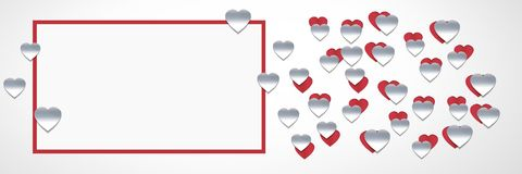 Paper cut out Valentines hearts with empty box. Digital composite of Paper cut out Valentines hearts with empty box Stock Images