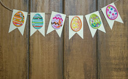 Paper cut outs with Easter egg stickers Royalty Free Stock Photo