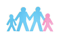 Paper cut outs representing a family of four over white background Stock Photo
