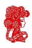 The paper cut pattern of traditional Chinese lady`s headdress stock illustration
