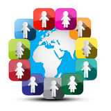 Paper Cut People Around Globe Vector Royalty Free Stock Photos