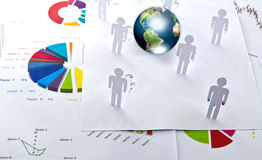 Paper cut of people and business graph. Stock Photography