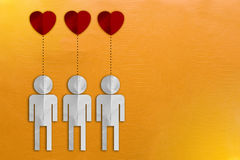 Paper cut people together in love Royalty Free Stock Photography
