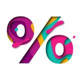 Paper cut Percent symbol percentage sign. Realistic 3D multi layers papercut effect Royalty Free Stock Images