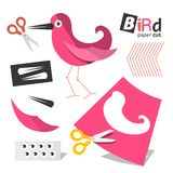 Paper Cut Pink Bird Parts with Scissors Isolated. On White Background royalty free illustration