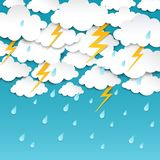 Paper cut rainy sky. Storm background, rain season weather poster, origami forecast banner. Vector outcast thunder rainy. Weather art vector illustration
